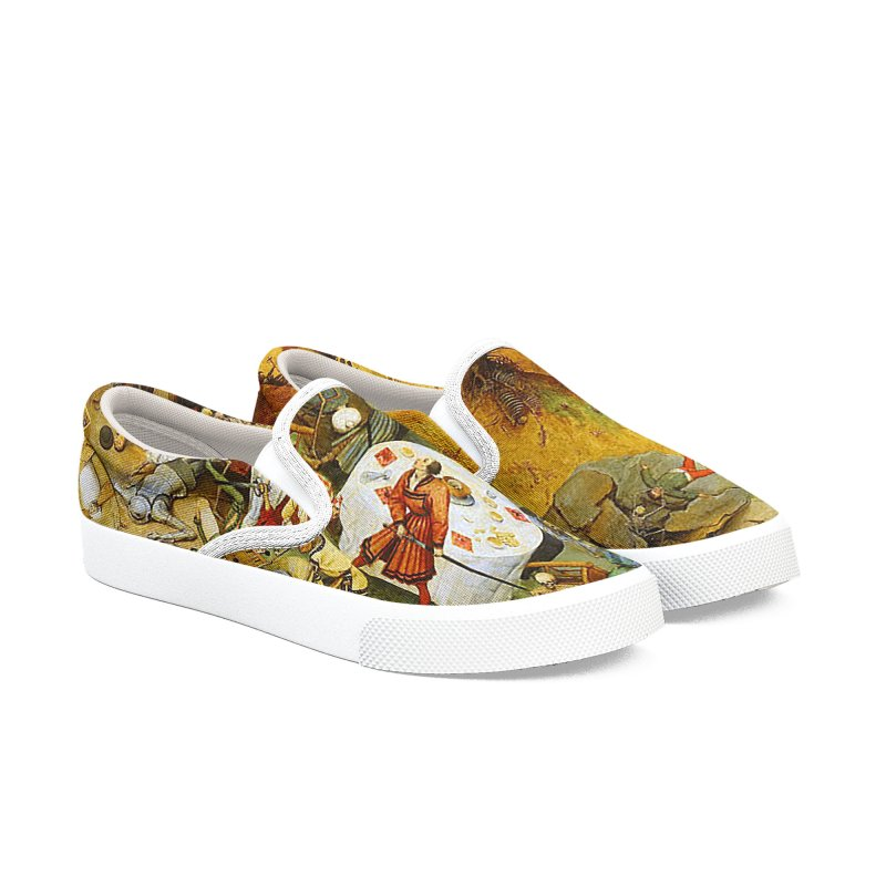 Vivid Retro - The Triumph of Death Men's Slip-On Shoes by lostsigil's Artist Shop