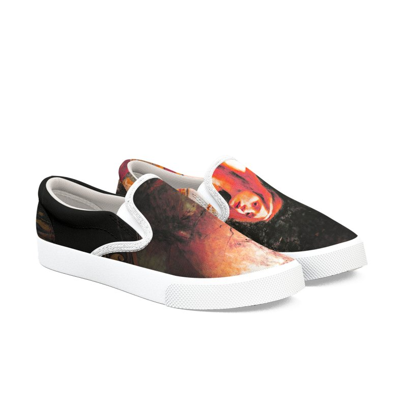 Vivid Retro - The Lady of Shalott Men's Slip-On Shoes by lostsigil's Artist Shop