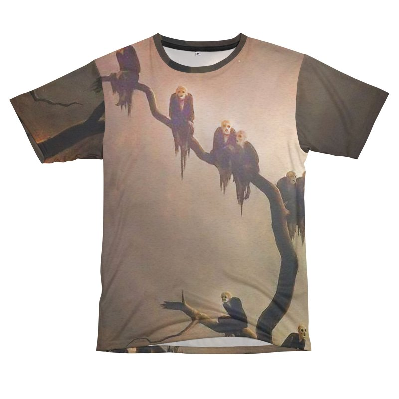 Vivid Retro - Ghosts in a Tree Men's French Terry T-Shirt Cut & Sew by lostsigil's Artist Shop