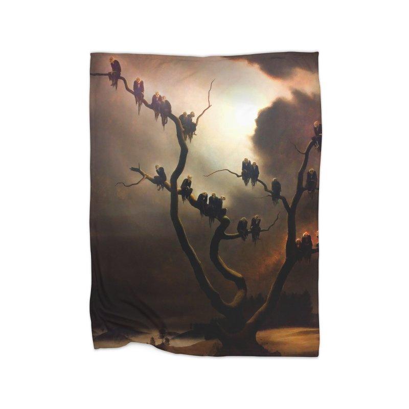 Vivid Retro - Ghosts in a Tree Home Fleece Blanket Blanket by lostsigil's Artist Shop
