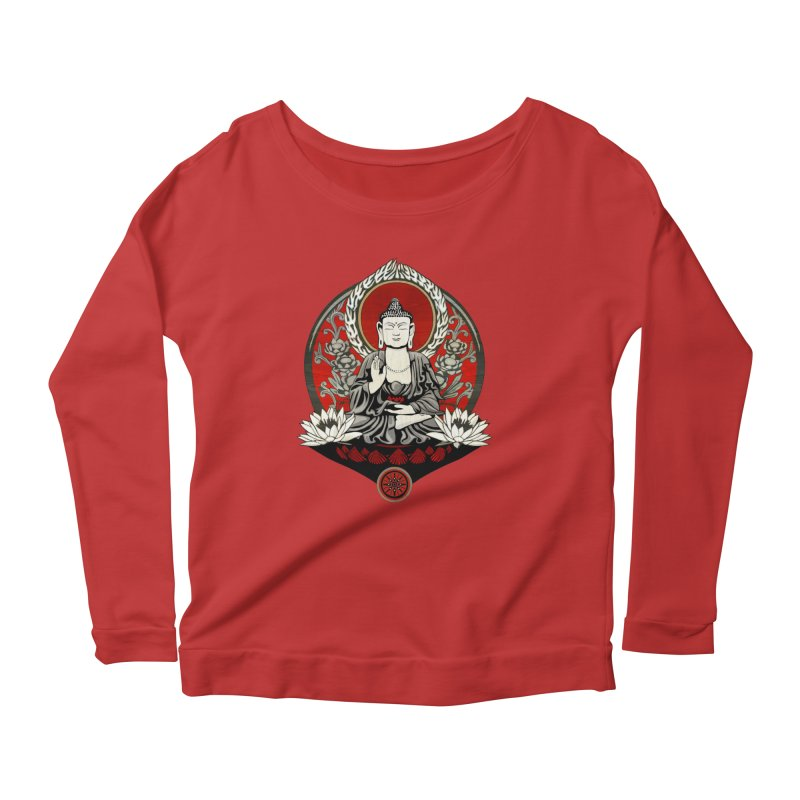 Gautama Buddha Women's Longsleeve Scoopneck  by Lotus Lounge