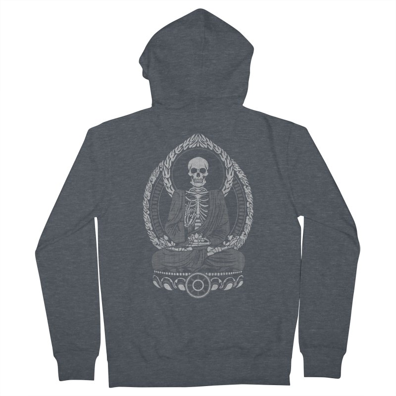 Starving Buddha - White Halftone Men's Zip-Up Hoody by Lotus Lounge