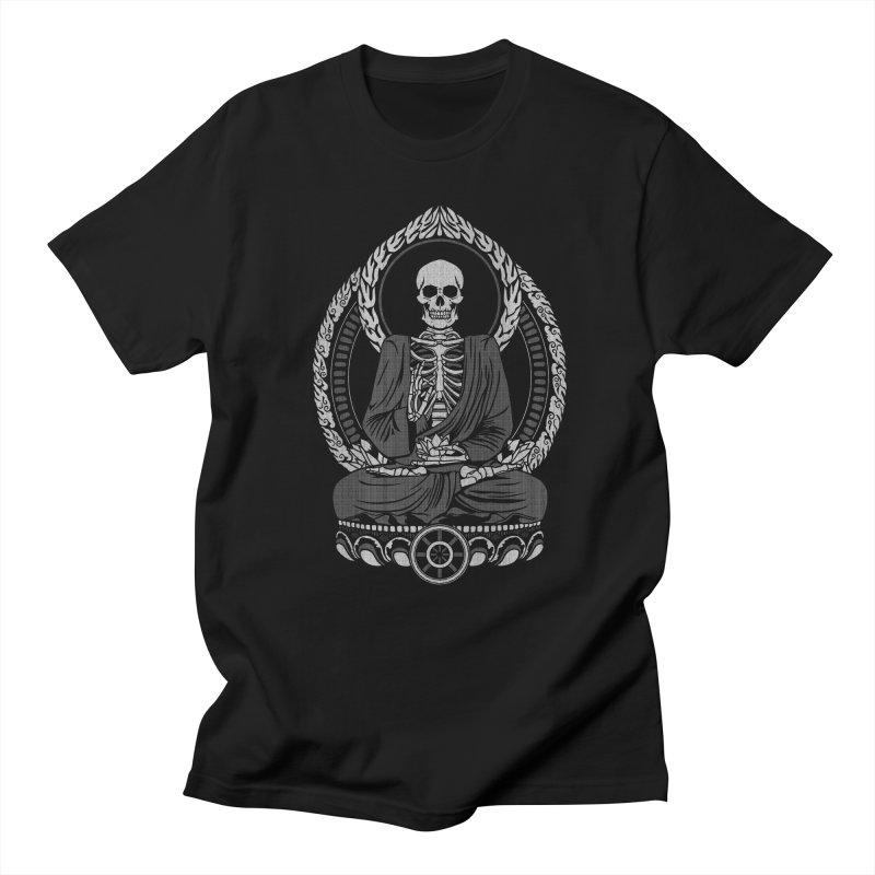 Starving Buddha - White Halftone Men's T-Shirt by Lotus Lounge