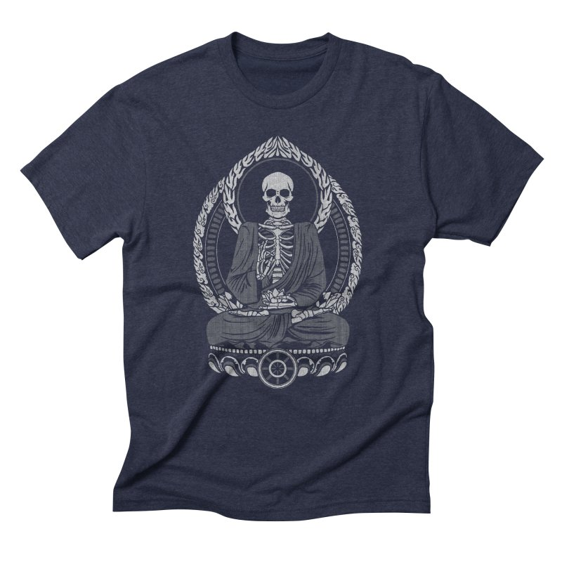 Starving Buddha - White Halftone Men's Triblend T-shirt by Lotus Lounge