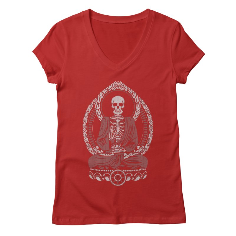Starving Buddha - White Halftone Women's V-Neck by Lotus Lounge