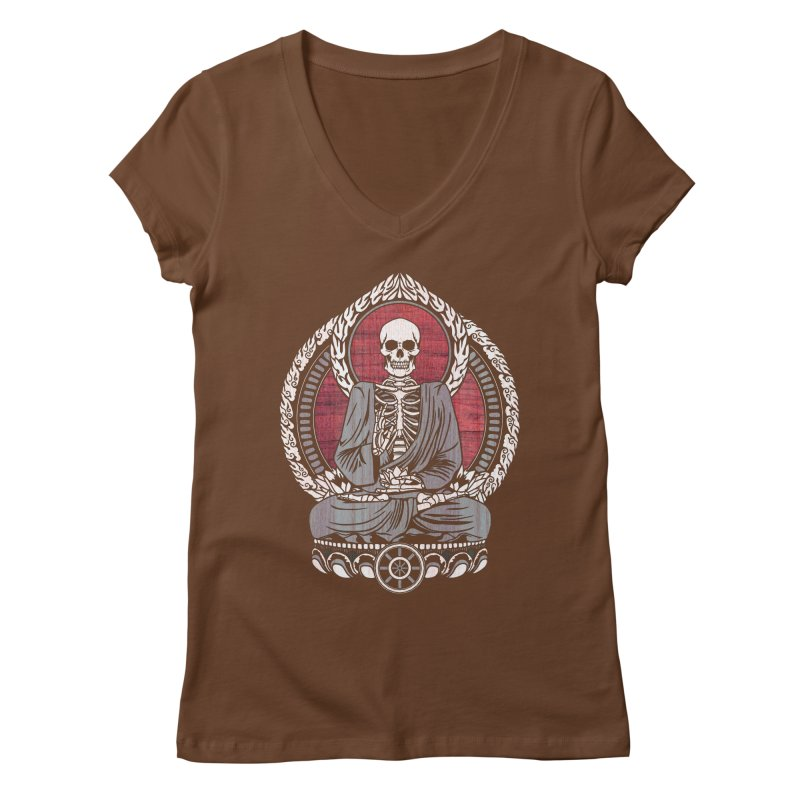 Starving Buddha - Cherry Wood Women's V-Neck by Lotus Lounge
