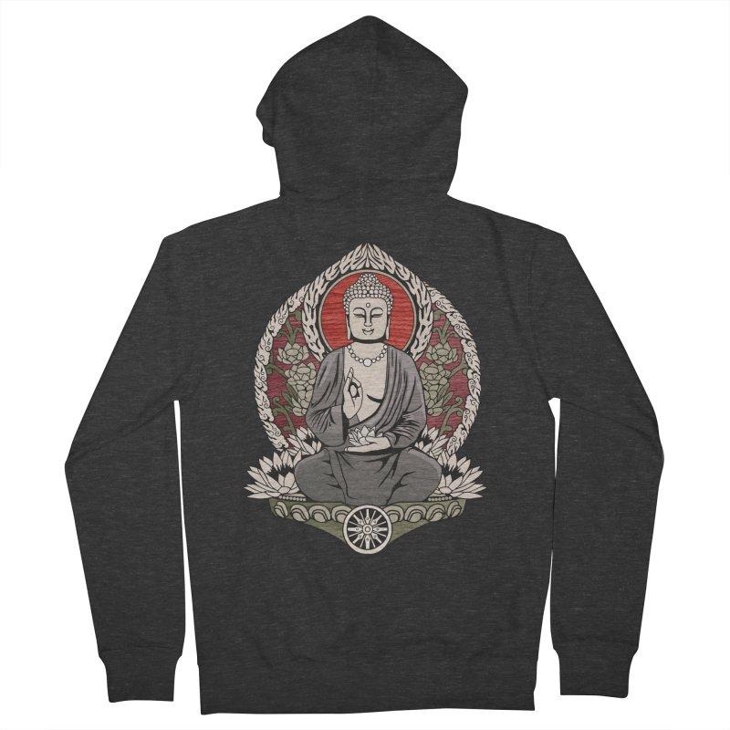 Siddhartha Buddha Woodgrain Men's Zip-Up Hoody by Lotus Lounge