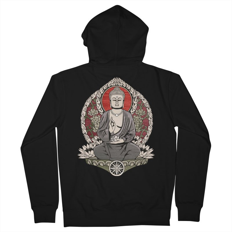 Siddhartha Buddha Woodgrain Men's Zip-Up Hoody by Lotus Lounge
