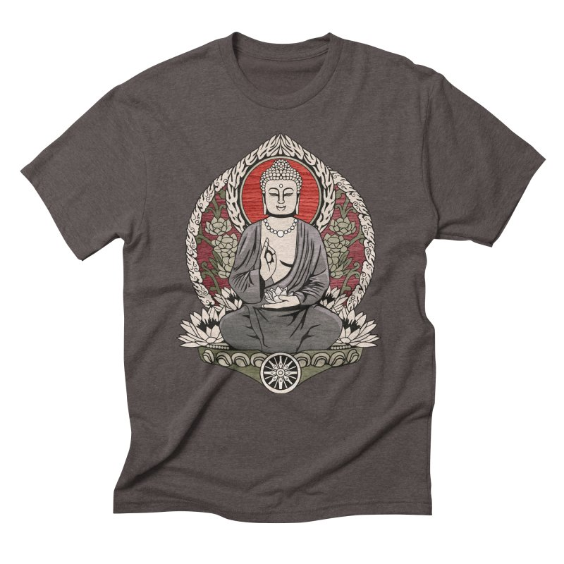 Siddhartha Buddha Woodgrain Men's Triblend T-shirt by Lotus Lounge