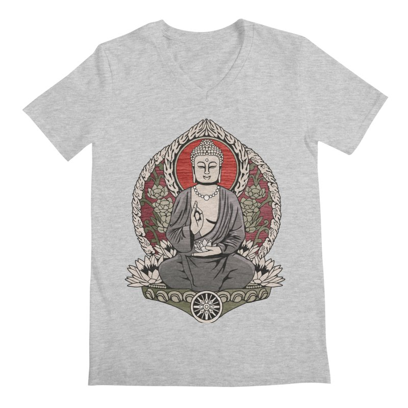 Siddhartha Buddha Woodgrain Men's V-Neck by Lotus Lounge