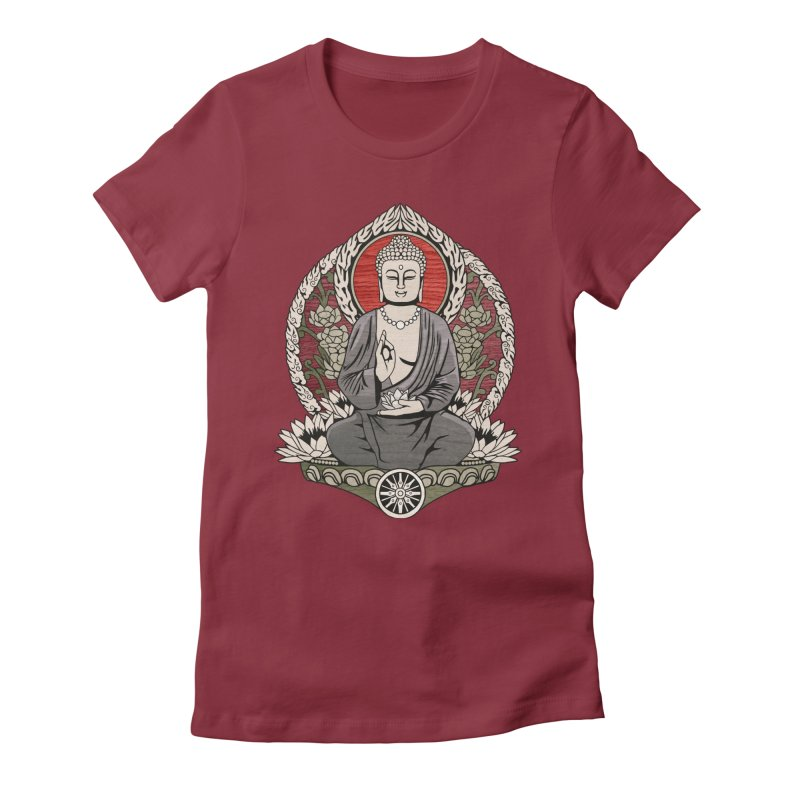Siddhartha Buddha Woodgrain Women's Fitted T-Shirt by Lotus Lounge