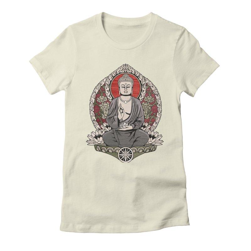 Siddhartha Buddha Woodgrain Women's Fitted T-Shirt by Lotus Lounge