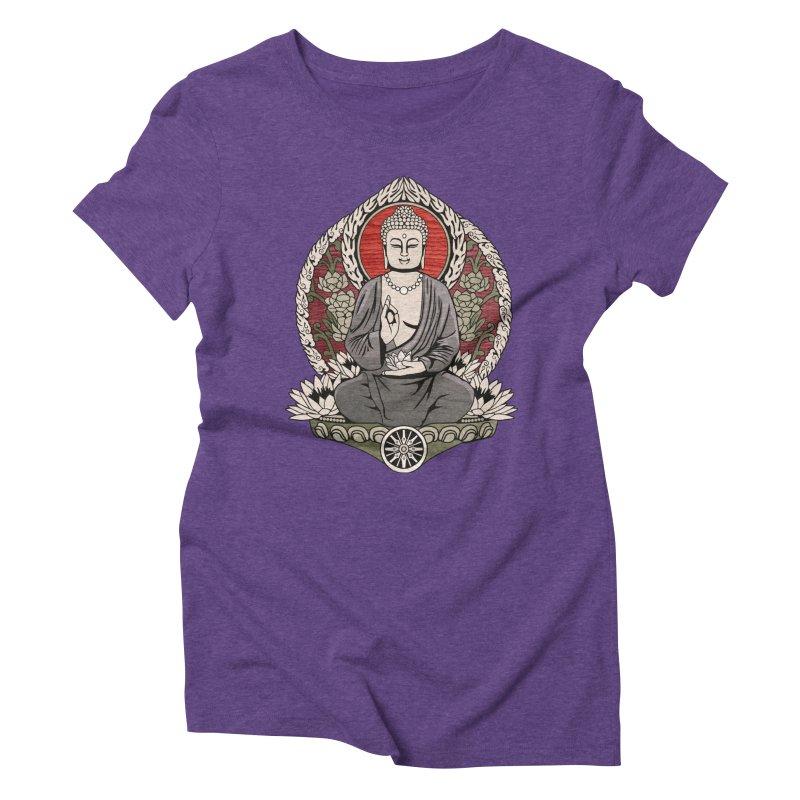 Siddhartha Buddha Woodgrain Women's Triblend T-shirt by Lotus Lounge