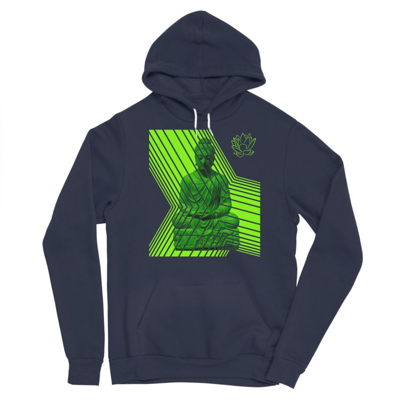 Buddha - Green Men's Pullover Hoody by Lotus Stencils