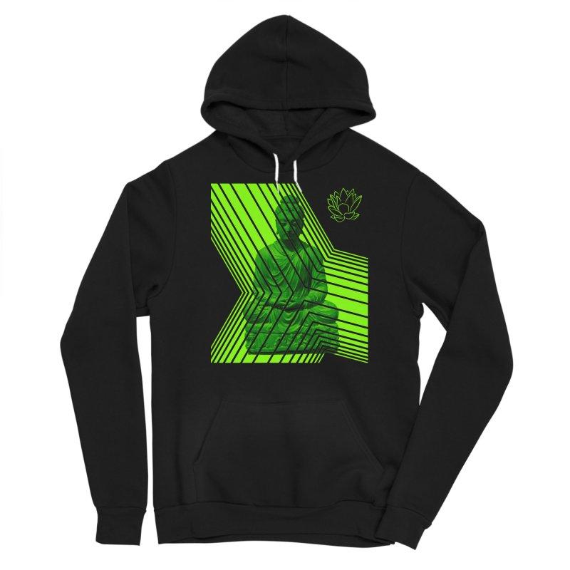 Buddha - Green Men's Pullover Hoody by Lotus Stencils