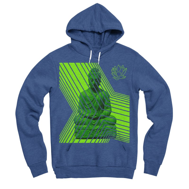 Buddha - Green in Women's Sponge Fleece Pullover Hoody Heather Royal by Lotus Stencils