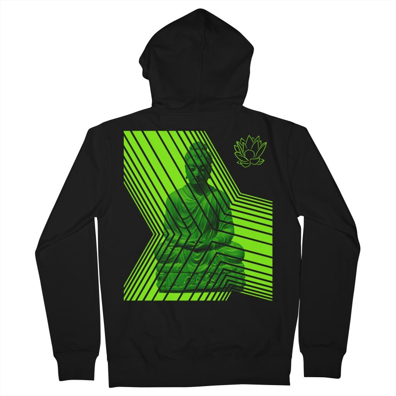 Buddha - Green Men's Zip-Up Hoody by Lotus Stencils