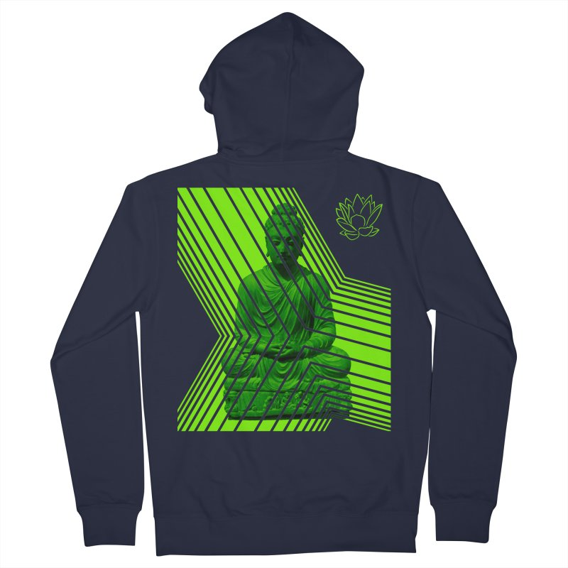 Buddha - Green Men's Zip-Up Hoody by Lotus Stencils