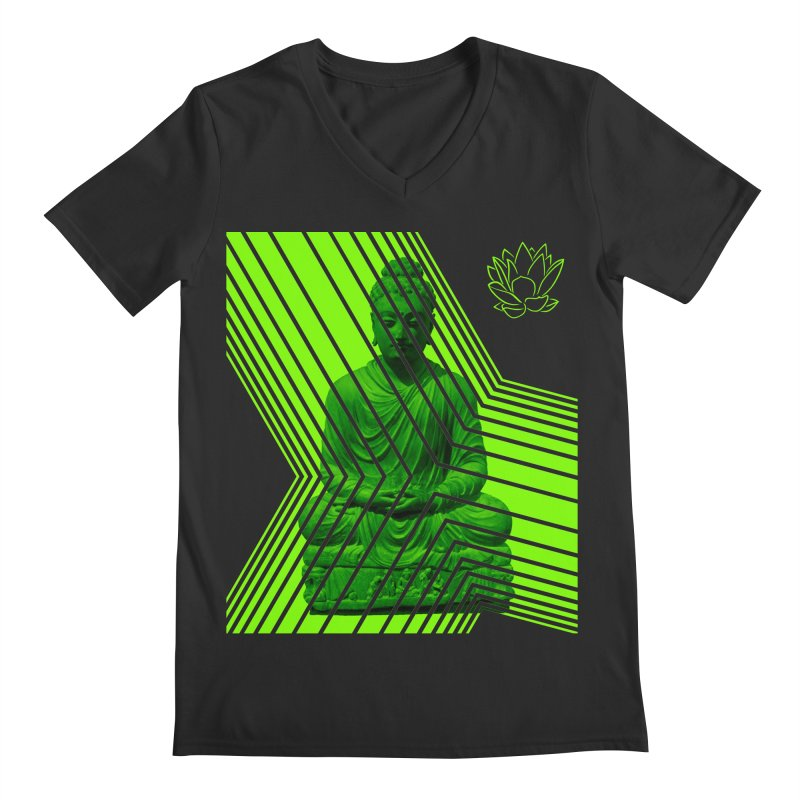Buddha - Green Men's V-Neck by Lotus Stencils