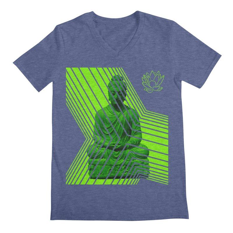 Buddha - Green Men's V-Neck by Lotus Stencils