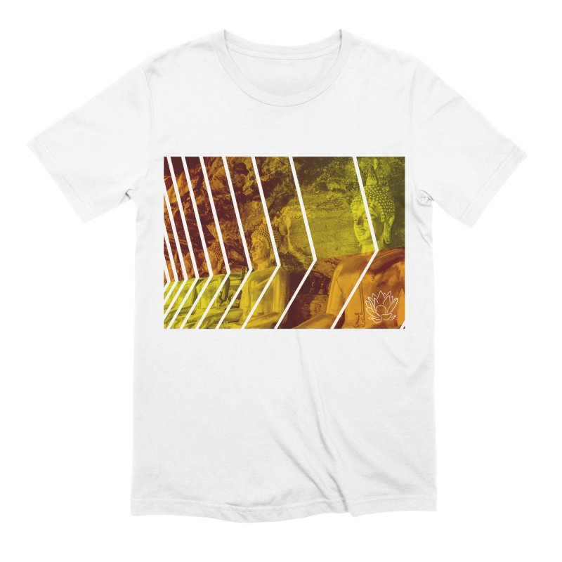 Buddhas - Gold in Men's Extra Soft T-Shirt White by Lotus Stencils