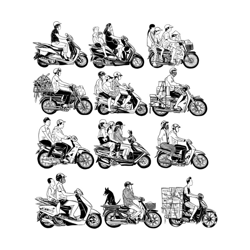 Scooters of Vietnam by Louis Barnard Illustration