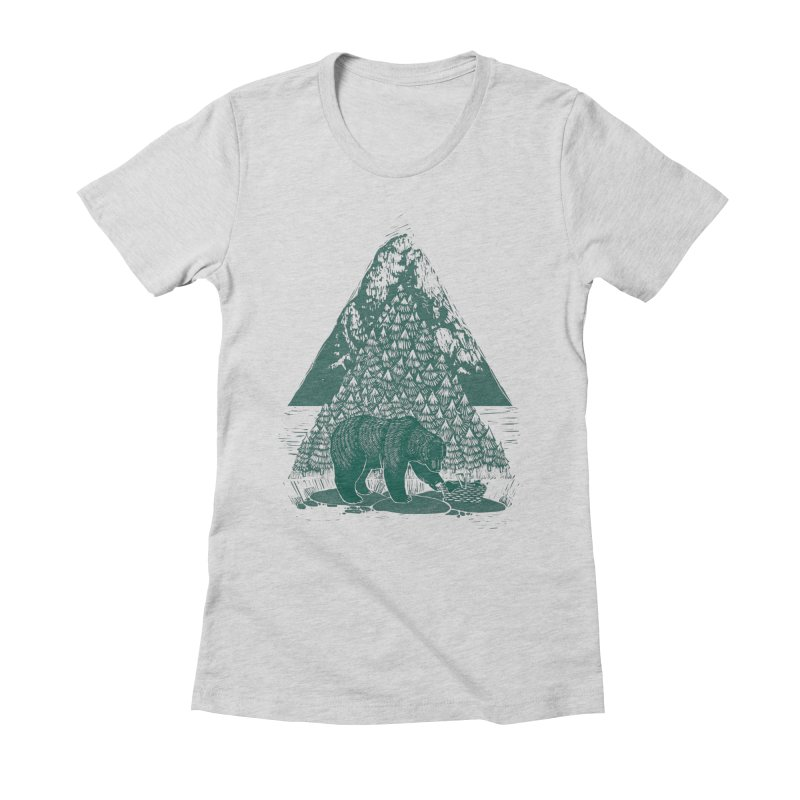 Teddy Bear Picnic in Women's Fitted T-Shirt Heather Grey by louisehubbard's Artist Shop