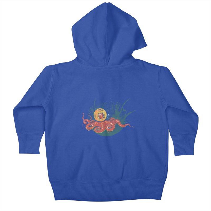 Deep Sea Diver Kids Baby Zip-Up Hoody by louisehubbard's Artist Shop
