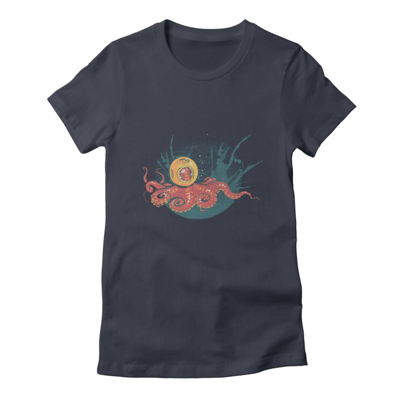 Deep Sea Diver in Women's Fitted T-Shirt Midnight by louisehubbard's Artist Shop