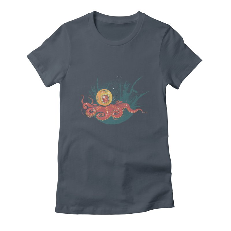 Deep Sea Diver Women's Fitted T-Shirt by louisehubbard's Artist Shop