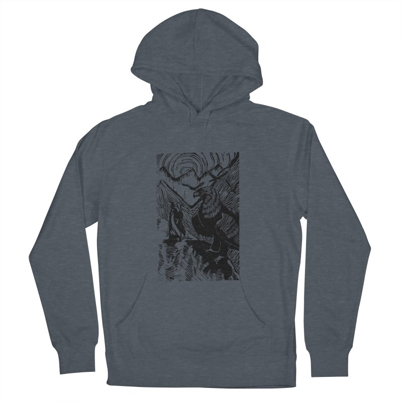 Meeting the Eagles Men's French Terry Pullover Hoody by louisehubbard's Artist Shop