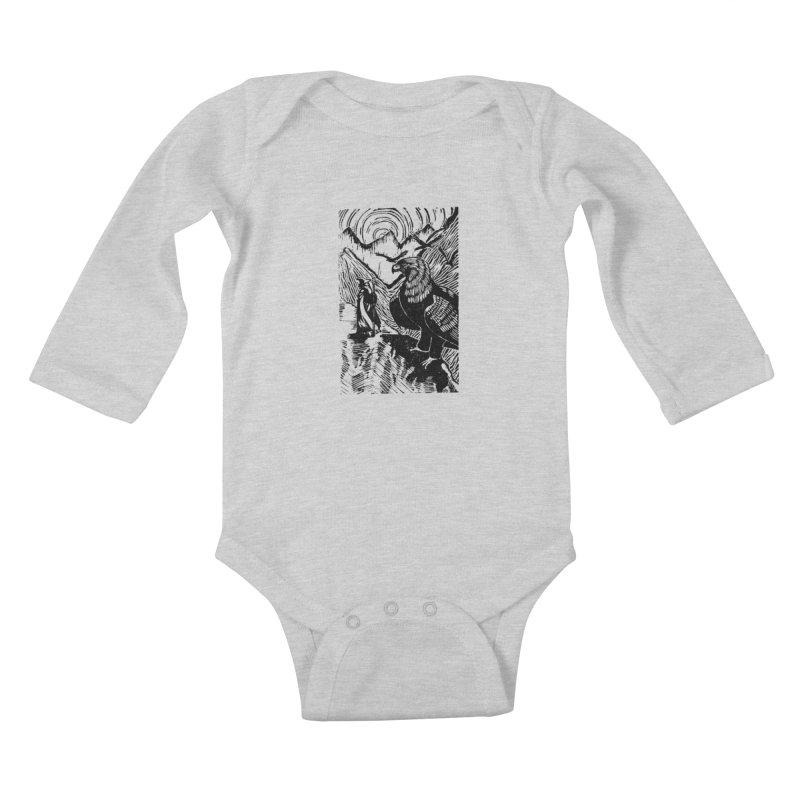 Meeting the Eagles Kids Baby Longsleeve Bodysuit by louisehubbard's Artist Shop