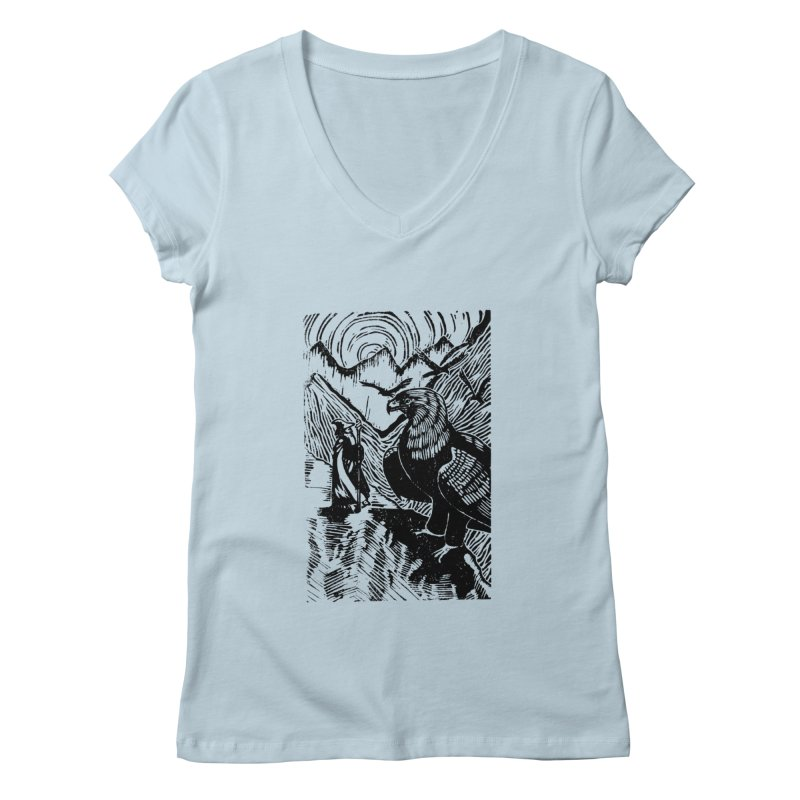 Meeting the Eagles Women's V-Neck by louisehubbard's Artist Shop