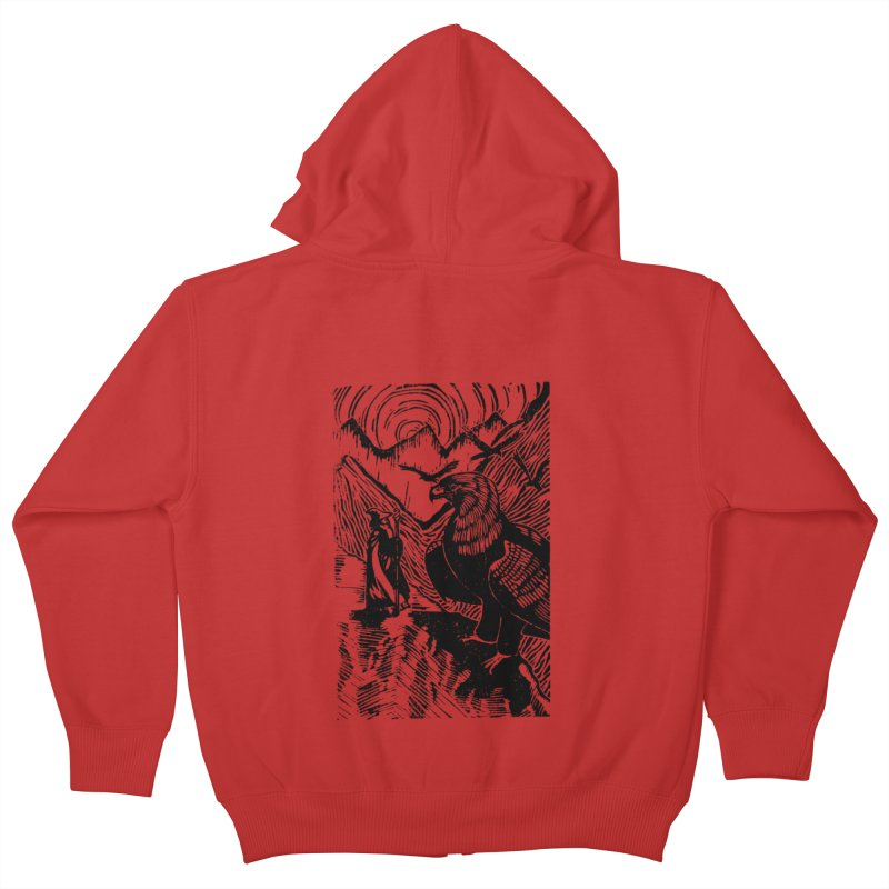 Meeting the Eagles Kids Zip-Up Hoody by louisehubbard's Artist Shop