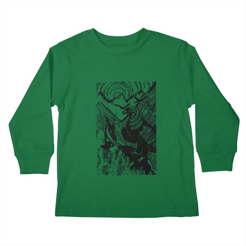 Meeting the Eagles Kids Longsleeve T-Shirt by louisehubbard's Artist Shop