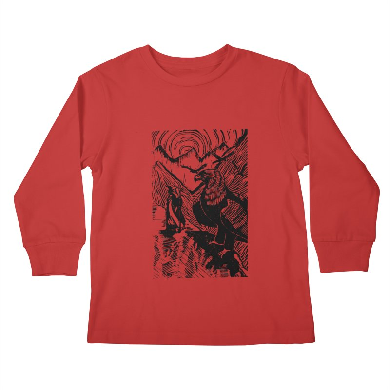 Meeting the Eagles Kids Longsleeve T-Shirt by louisehubbard's Artist Shop