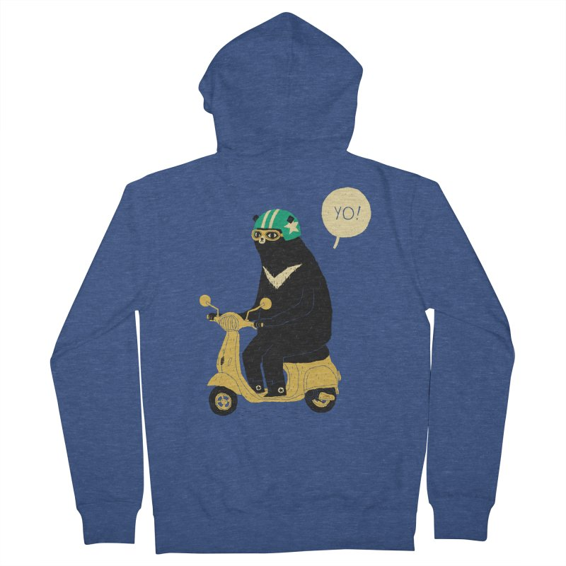 scooter bear Men's Zip-Up Hoody by louisros's Artist Shop