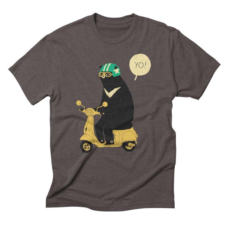 scooter bear Men's Triblend T-Shirt by louisros's Artist Shop