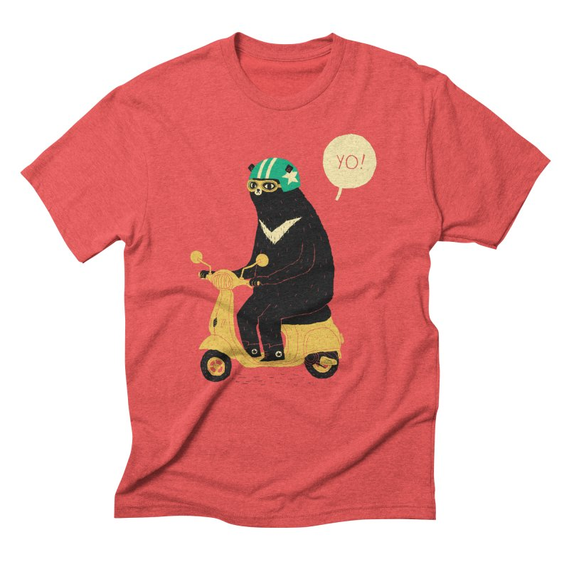 scooter bear Men's Triblend T-Shirt by louisros's Artist Shop
