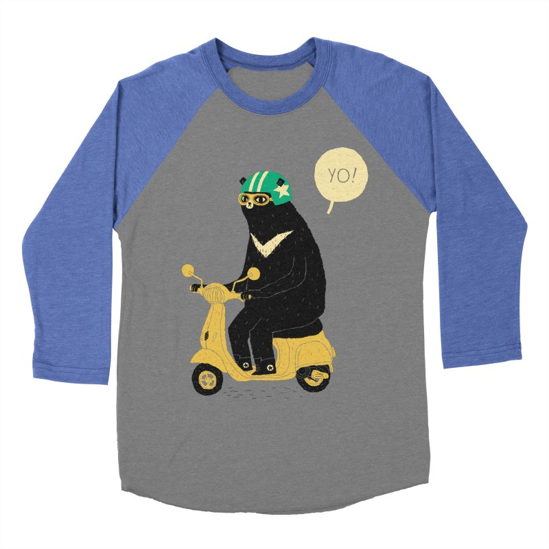scooter bear Men's Baseball Triblend T-Shirt by louisros's Artist Shop