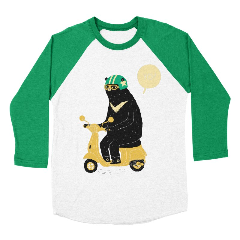 scooter bear Men's Baseball Triblend T-Shirt by louisros's Artist Shop