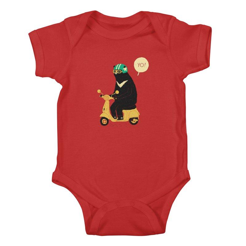 scooter bear Kids Baby Bodysuit by louisros's Artist Shop