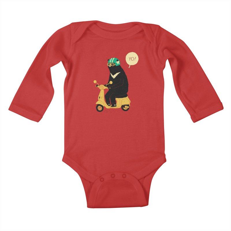 scooter bear Kids Baby Longsleeve Bodysuit by louisros's Artist Shop