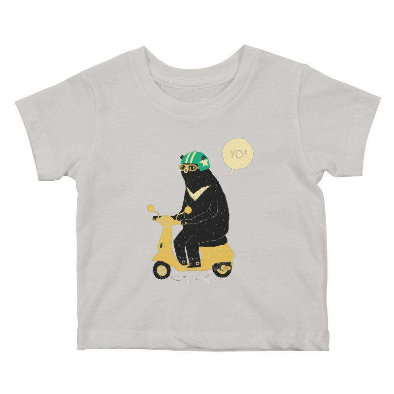 scooter bear Kids Baby T-Shirt by louisros's Artist Shop
