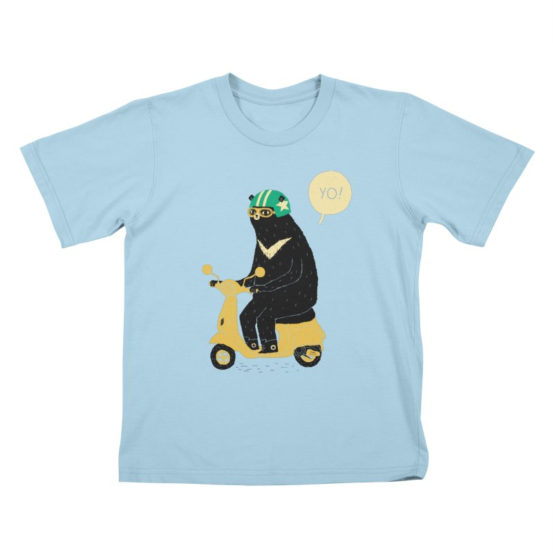 scooter bear Kids T-shirt by louisros's Artist Shop