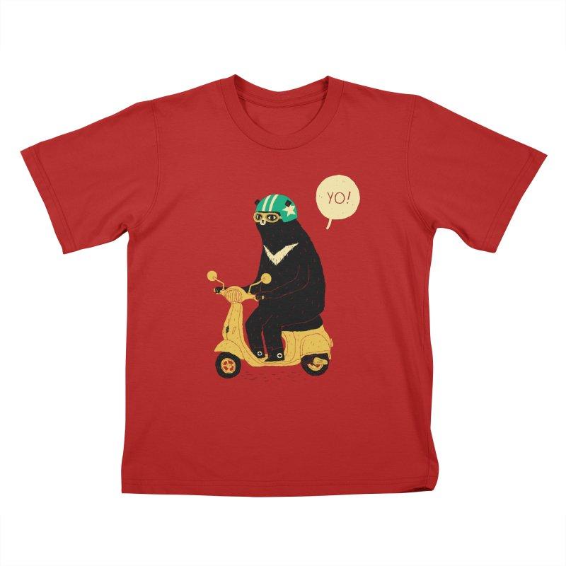 scooter bear Kids T-shirt by louisros's Artist Shop