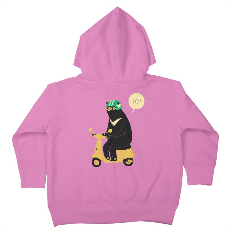 scooter bear Kids Toddler Zip-Up Hoody by louisros's Artist Shop