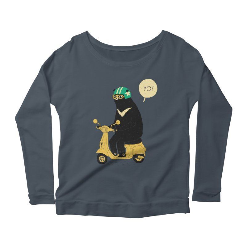 scooter bear Women's Longsleeve Scoopneck  by louisros's Artist Shop