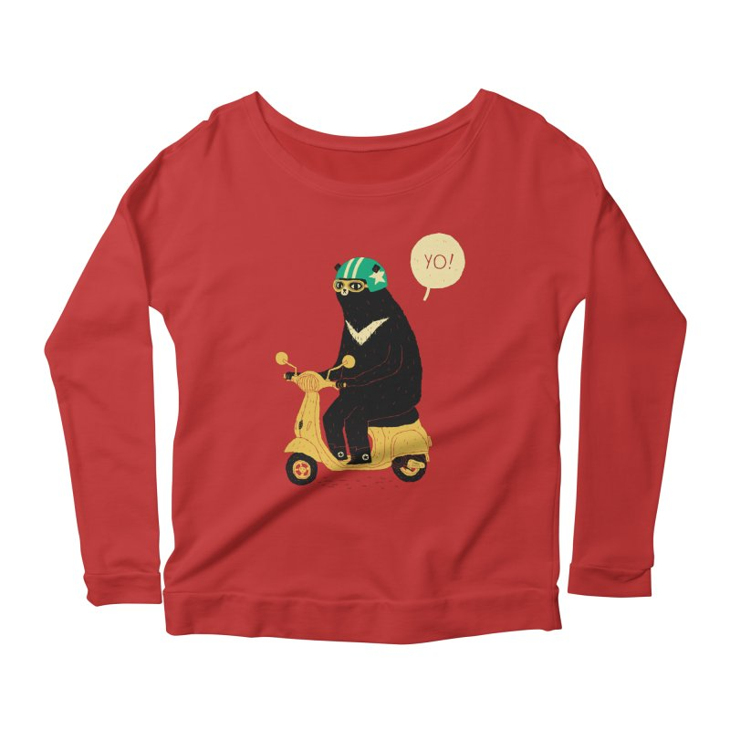 scooter bear Women's Scoop Neck Longsleeve T-Shirt by louisros's Artist Shop