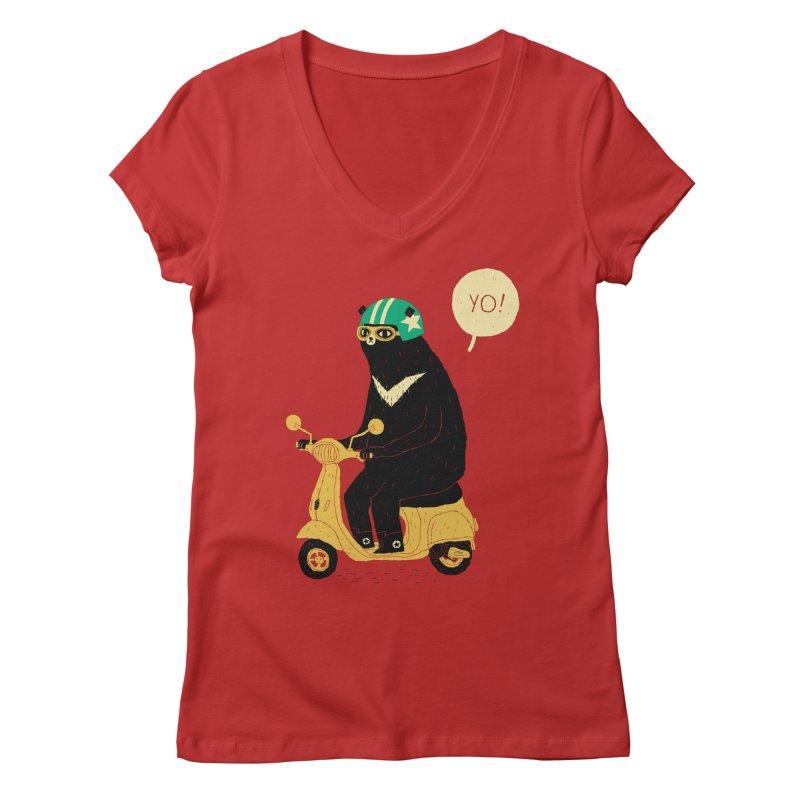 scooter bear Women's V-Neck by louisros's Artist Shop